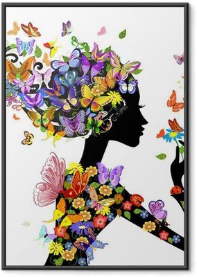 Pige mode blomster med sommerfugle Indrammet plakat