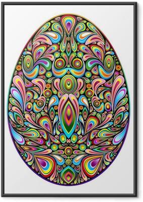 Ingelijste Poster Psychedelic Art Design Easter Egg Easter Egg Ornamental