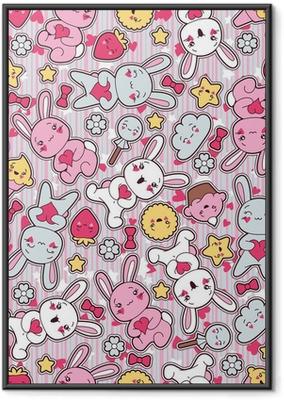 Poster en cadre Motif de l'enfant kawaii transparente avec doodles mignons.