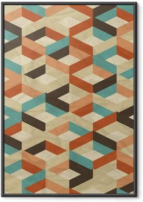 Poster i Ram Sömlös retro geometriska mönster.