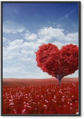 Puu muoto sydämen, ystävänpäivä tausta, Kehystetty juliste