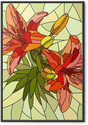 Gerahmtes Poster Vektor-Illustration der Blume rote Lilien.