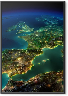 Night Earth. A piece of Europe - Spain, Portugal, France Framed Poster