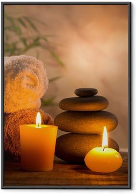 Plakat w ramie Spa martwa natura z aromatycznych świec