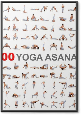100 yoga poses on white background Framed Poster