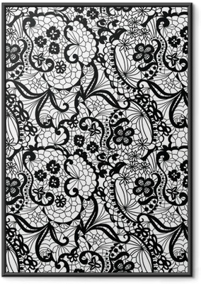 Póster com Moldura Lace black seamless pattern with flowers on white background
