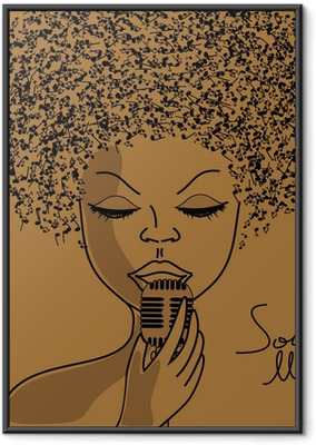 Gerahmtes Poster Singer Silhouette mit Noten Haar