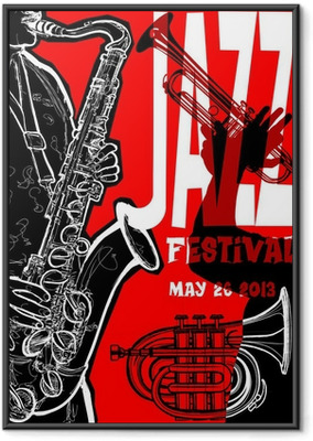 Jazz poster with saxophonist Framed Poster