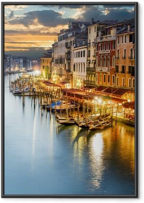 Poster en cadre Le Grand Canal à Venise de nuit