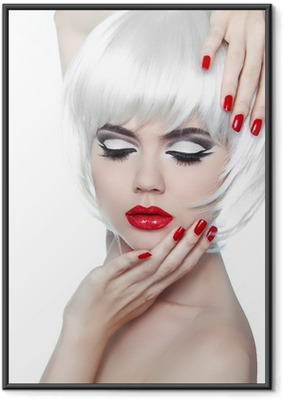 Makeup and Hairstyle. Red Lips and Manicured Nails. Fashion Beau Framed Poster