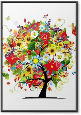 Neljä vuodenaikaa. art puu teidän suunnittelua Kehystetty juliste