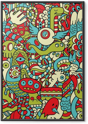 Poster in Cornice Seamless Hipster Doodle mostro Collage modello