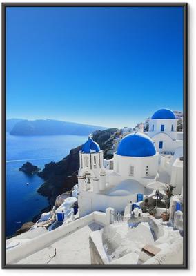 Ingelijste Poster Grèce - Santorini (Oia dorp)