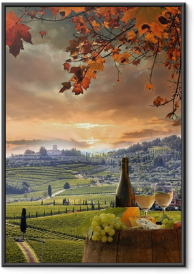White wine with barell in vineyard, Chianti, Tuscany, Italy Framed Poster