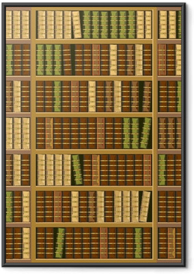 Póster Enmarcado Estantería llena de libros antiguos