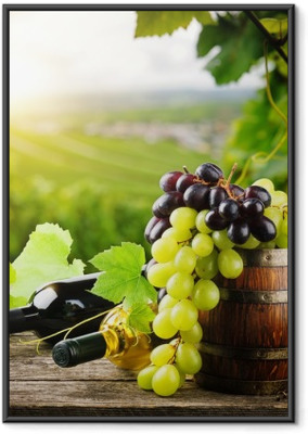 Bottles of red and white wine with fresh grape Framed Poster