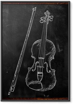 Violin Drawing Sketch on blackboard Framed Poster
