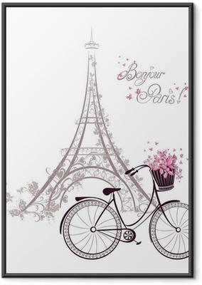 Plakat w ramie Tekst bonjour Paryżu z wieży Eiffla i rower