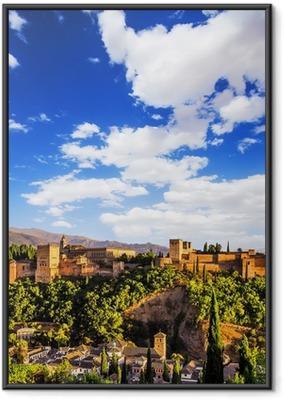 Gerahmtes Poster Alte arabische Festung Alhambra, Granada, Spanien.