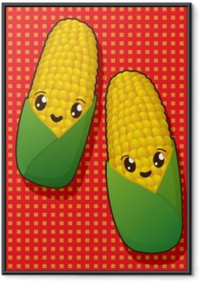 Poster en cadre Icônes de maïs kawaii