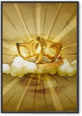 Çerçeveli Poster Altın tiyatro maskeleri, eski stil arka plan
