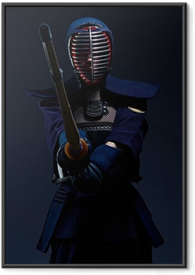 portrait of a kendo fighter with shinai Framed Poster