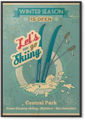 Let's go skiing retro poster Framed Poster