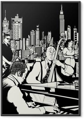 Ingelijste Poster Jazz band spelen in New York