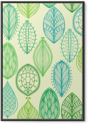 Seamless hand drawn vintage pattern with green ornate leaves Framed Poster