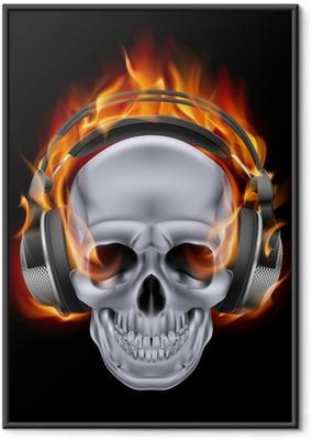 Gerahmtes Poster Flaming Schädel in Kopfhörer.