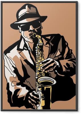 Poster en cadre Joueur de saxophone