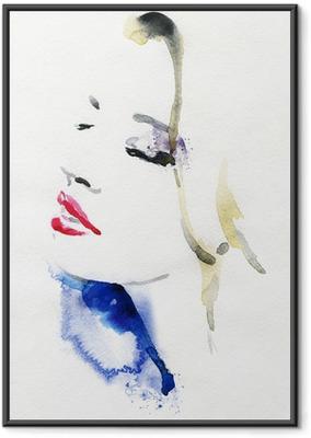 Ingelijste Poster Mooie vrouw. aquarel illustratie
