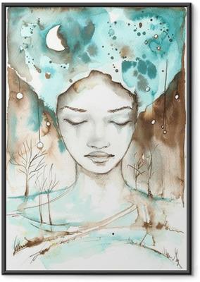 Plakat w ramie Fabulous Ilustracja abstrakcyjna portret dziewczyny.