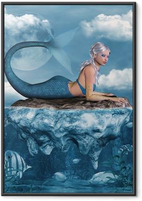 Poster i Ram Mermaid på en klippa