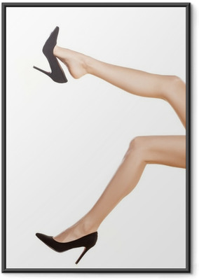 Póster com Moldura pretty female legs in black shoes with high heels on white