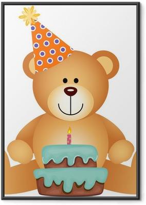Póster Enmarcado Oso de peluche con la torta de cumpleaños