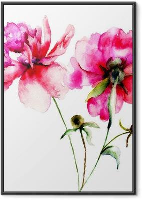 Poster in Cornice Rosso peonia fiori