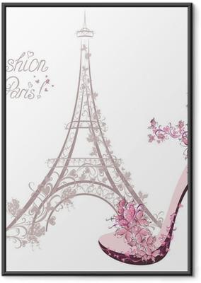 Poster in Cornice Scarpe con tacco su sfondo della Torre Eiffel. Paris Fashion