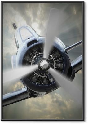 Gerahmtes Poster Propeller-Flugzeug