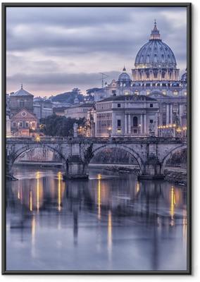 Gerahmtes Poster Rom und dem Fluss Tiber in der Abenddämmerung