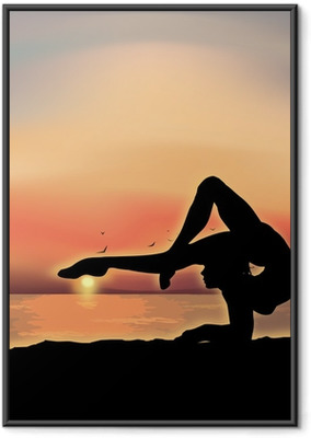 Gymnast exercising near the sea Framed Poster