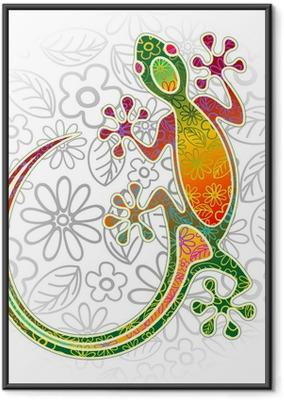 Gerahmtes Poster Gecko Floral Tribal Art