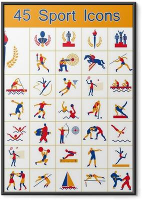 Póster Enmarcado Conjunto de 45 iconos Juegos Olímpicos de Verano