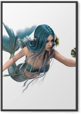 Poster i Ram Blue Mermaid innehar Sea Lily