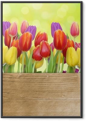 Poster en cadre Tulipes avec panneau de bois - Thèmes