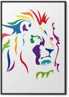Gerahmtes Poster Vektor-Logo Löwe, Kraft und Mut Konzept