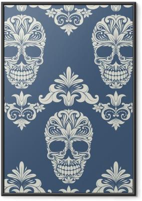 Gerahmtes Poster Schädel Swirl Dekorative Muster