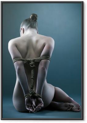Ingelijste Poster Naakt vrouw met shibari in de studio