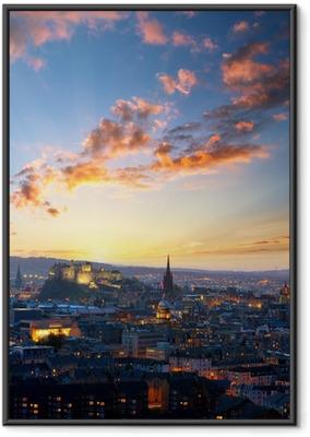 Póster com Moldura Sunset view of Edinburgh, UK