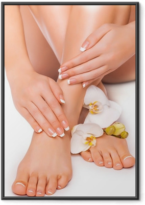 manicure and pedicure with white orchid. isolated Framed Poster